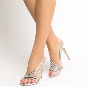 Silver Patent Leather Office Sandals Open Toe Dressy Stiletto Heels