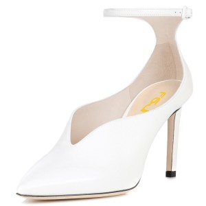 FSJ Cut Out Ankle Strap Heels Office Dressy Pumps in White