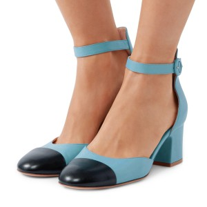 Women's Blue and Black Ankle Strap Vintage Chunky Heels Pumps Shoes
