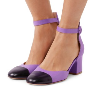 Women's Purple Ankle Strap Vintage Chunky Heels Pumps Shoes