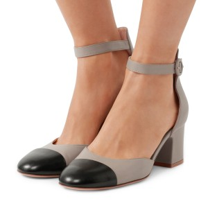 Women's Grey Ankle Strap  Vintage Chunky Heels Pumps Shoes