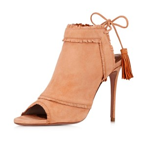 Orange Summer Boots Peep Toe Slingback Fringe Stiletto Heels