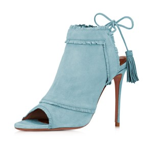 Light Blue Summer Boots Peep Toe Tassels Slingback Stiletto Heels