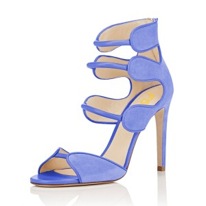 Women's Blue Open Toe Strappy Hollow Out  Stiletto Heels  Sandals