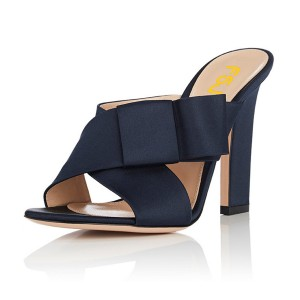 FSJ Navy Satin Bow Mule Heels Open Toe Office Chunky Heels