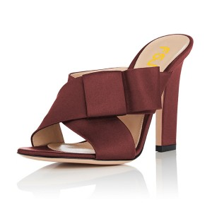 Women's Maroon Open Toe Chunky Heels Formal Mule Sandals