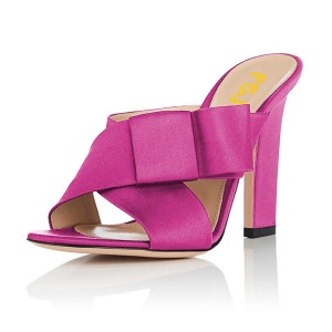 Women's Plum Open Toe Chunky Heels Formal Mule Sandals