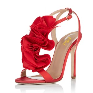 Red Prom Shoes Satin Flower Stiletto Heel Evening Sandals
