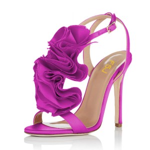 Fuchsia Prom Shoes Satin Flower Stiletto Heel Evening Sandals