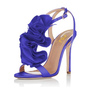 Royal Blue Heels Satin Stiletto Heel Flower Evening Sandals for Prom