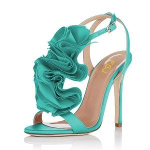 Turquoise Heels 4 Inches Stiletto Heel Flower Evening Shoes for Prom