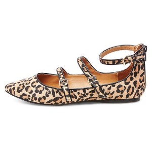 Leopard Print Flats Khaki Suede Pointy Toe Buckles Shoes