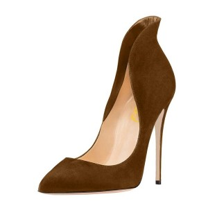 Women's Brown 4 Inch Heels Collar Stiletto Heel Pumps Formal Shoes