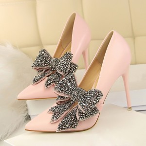 Custom Made Pink Pumps with Rhinestone Bow