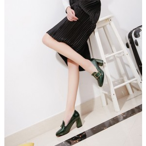 Deep Green Vintage Heels Square Toe Loafers Patent Leather Pumps