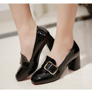 Black Vintage Heels Patent Leather Square Toe Block Heel Pumps