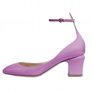 Orchid Round Toe Block Heel Ankle Strap Pumps for Ladies