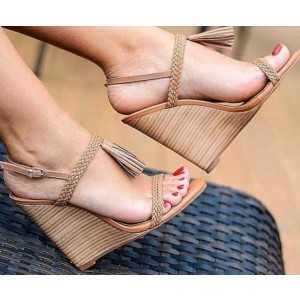 Custom Made Tan Slingback Tassel Wedge Sandals