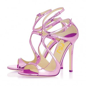 Orchid Stiletto Heels Buckles Strappy Sandals Evening Shoes