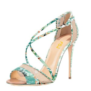 Floral Heels Mesh Cross-over Strap Open Toe Stiletto Heel Sandals