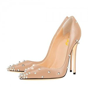Women's Nude Stiletto Heels Pointed Toe Rivets Office Heels Pumps