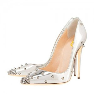 FSJ Silver Studs Shoes Pointy Toe Mirror Leather Stiletto Heel Pumps