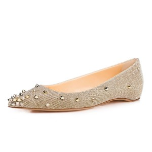Champagne Rivet Pointed Toe Comfortable Flats