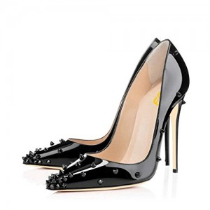 Black 4 Inch Heels Pointy Toe Rivets Patent Leather Stilettos Pumps