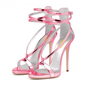 Women's Hot Pink Ankle-Strap Sandals for Dating