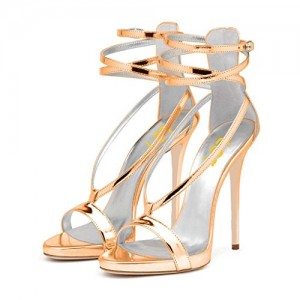 Champagne Metallic Heels Open Toe Stiletto Heel Strappy Sandals by FSJ