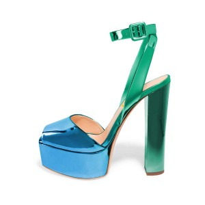 Women's Green and Blue Peep Toe Ankle Strap Sandals