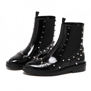 Women's Fashion Black Rivets  Ankle  Boots Comfortable Flats