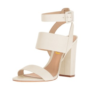 Ivory Ankle Strap Slingback 4 Inches Chunky Heel Sandals