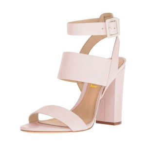 Blush Ankle Strap Sandals 4 Inches Chunky Heels Slingback Shoes