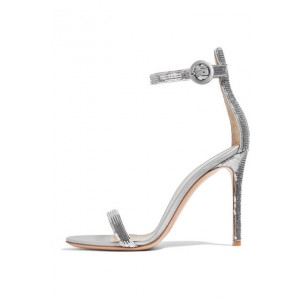 Silver Sequined Ankle Strap Sandals Open Toe Stiletto Heels