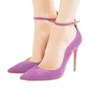 Light Purple Suede Stiletto Heel Ankle Strap Heels Pumps