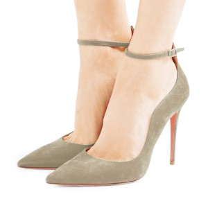 Women's Khaki Suede Stiletto Heel Ankle Strap Heels Pumps