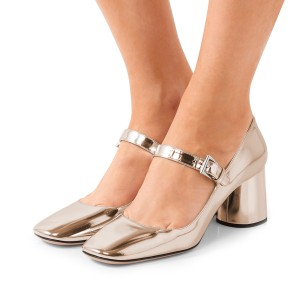 Women's Champagne Square Toe Chunky Heels Mary Jane Pumps Shoes
