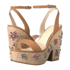 Custom Made Khaki Chunky Heel Ankle Strap Sandals