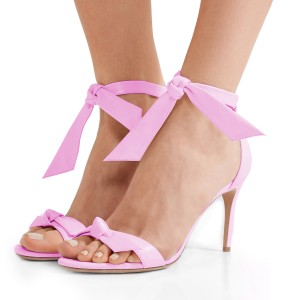 Women's Pink Bow Stiletto Heel Ankle Strap Sandals