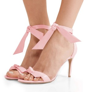 Women's Light Pink Bow Stiletto Heel Ankle Strap Sandals
