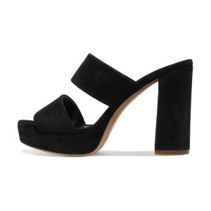 Women's Black Suede Open Toe Chunky Heels Mules Sandals