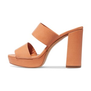 Tan Heels Open Toe Chunky Heel Platform Heeled Mules by FSJ