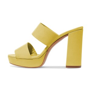 Women's Yellow Suede Open Toe Chunky Heels Mules Sandals