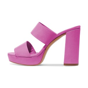 Fuchsia Mule Heels Open Toe Platform Chunky Heels for Office Lady