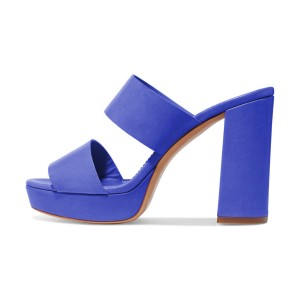 Women's Blue Suede Open Toe Chunky Heels Mules Sandals