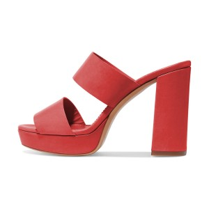 Women's Red Suede Open Toe Chunky Heels Mules Sandals