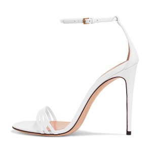 Women's White Stiletto Heels Open Toe Ankle Strap Sandals
