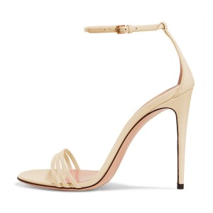 FSJ Beige Ankle Strap Sandals Open Toe Stiletto Heel Office Shoes