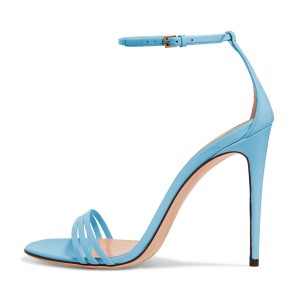 FSJ Light Blue Ankle Strap Sandals Open Toe Stiletto Heel Office Shoes